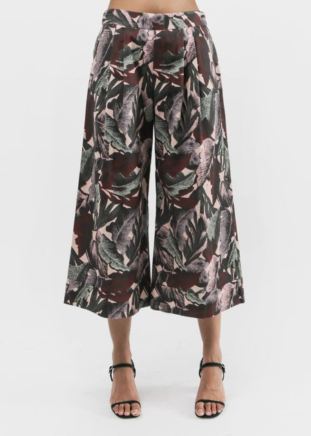 Svilu - Palm Print Cropped Wide Leg Pant