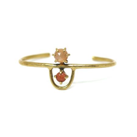 Laurel Hill Jewelry Arche Cuff - Peach Moonstone & Goldstone