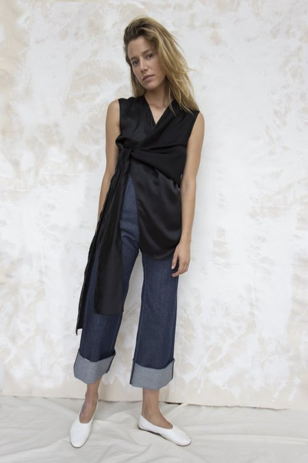 Index Series Black Silk Wrap Sleeveless Top