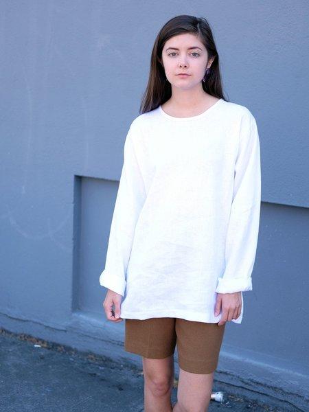 Unisex Lloyd LONG SLEEVE LINEN TEE IN WHITE