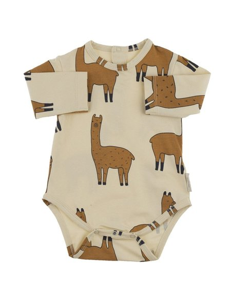 Kid's Tiny Cottons LLAMA PRINT LONG SLEEVE BODY - BEIGE