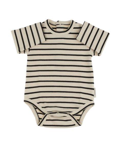 KID'S Tiny Cottons STRIPED LONG SLEEVE BODY - BLACK