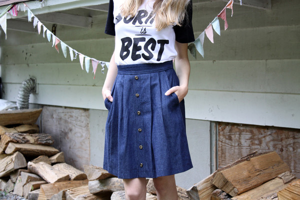 Birds of North America Brushrunner Skirt Dark Denim