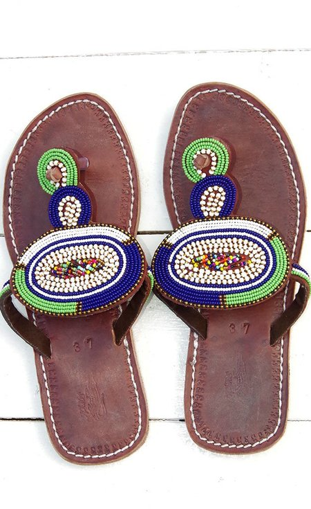 Studio One Eighty Nine Green and Blue Circle Beaded Sandals