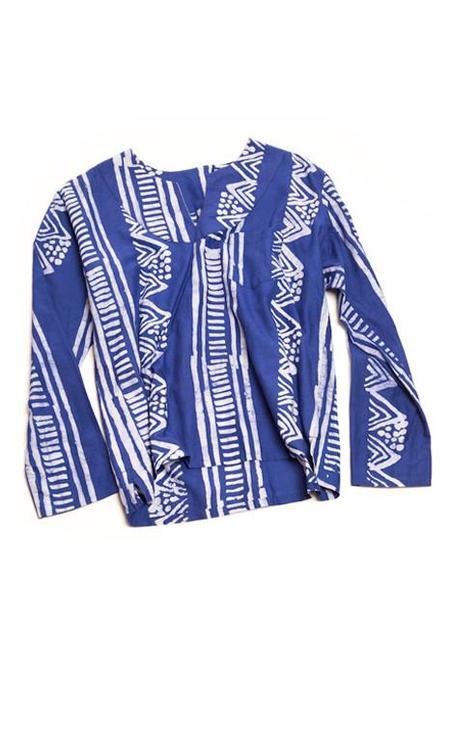 Studio One Eighty Nine Navy Bogolan-Print Cotton Hand-Batik Long Sleeve Shirt