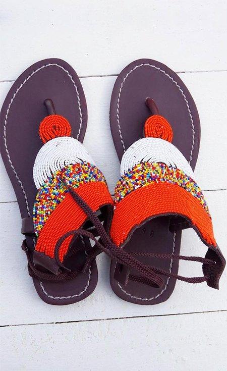 Studio One Eighty Nine Orange and White Beaded Sandals