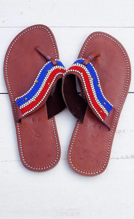 Studio One Eighty Nine Red and Blue Stripe Beaded Sandals