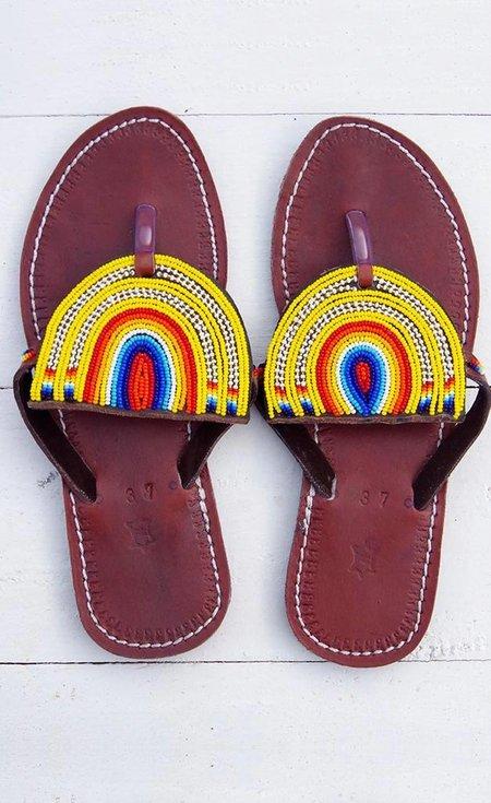 Studio One Eighty Nine Yellow Rainbow Beaded Sandals