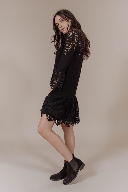 Ganni Emile Broderie Anglaise Dress in Black