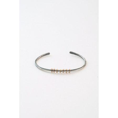 Melissa Joy Manning Oxidized Silver Gold Piercings Cuff Bracelet