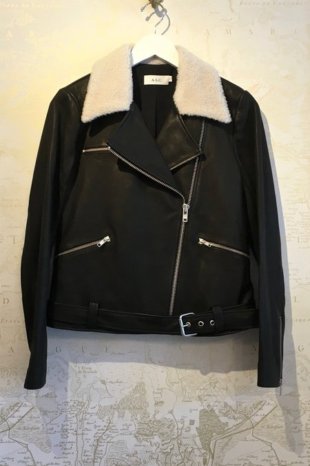 A.L.C. 'Tyrel' Leather Moto Jacket with Shearling Collar
