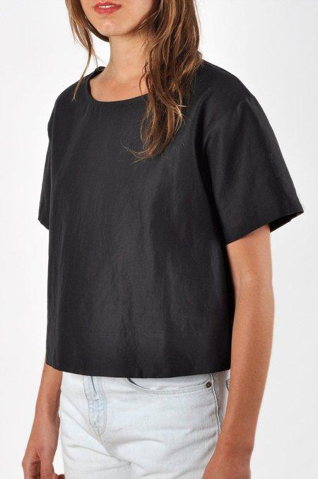 Waltz Drop Shoulder T-shirt in Black Linen/Cotton Twill