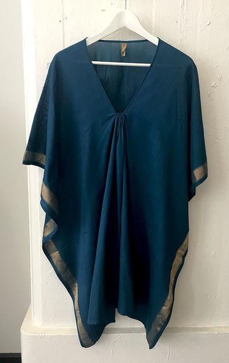 Two Short teal caftan with gold border