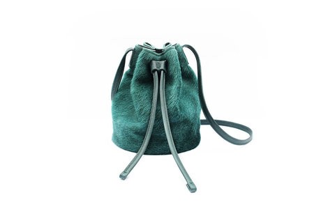 Sea Green Cowhide Bucket Bag