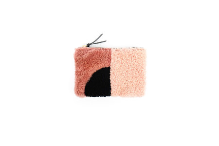 Primecut Pink and Black Patchwork Shearling Zipper Wallet