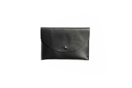 Primecut Black Leather Envelope Clutch
