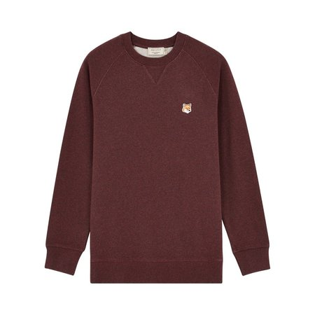 Kitsune Sweat Shirt Fox Head Patch - Burgandy