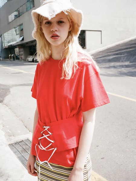 OUOR Corset Tee - Red