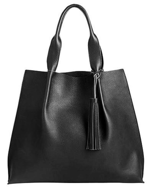 maggie tote in black pebble leather with leather tassel