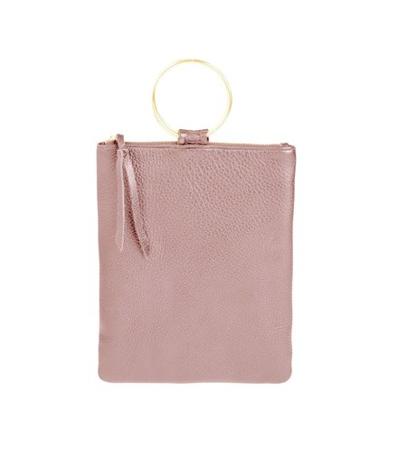 Oliveve Laine Brass Ring Bag in Rosy Pebbled Leather