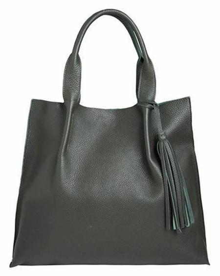 Oliveve Maggie Tote in Pine Pebble Leather with Leather Tassel