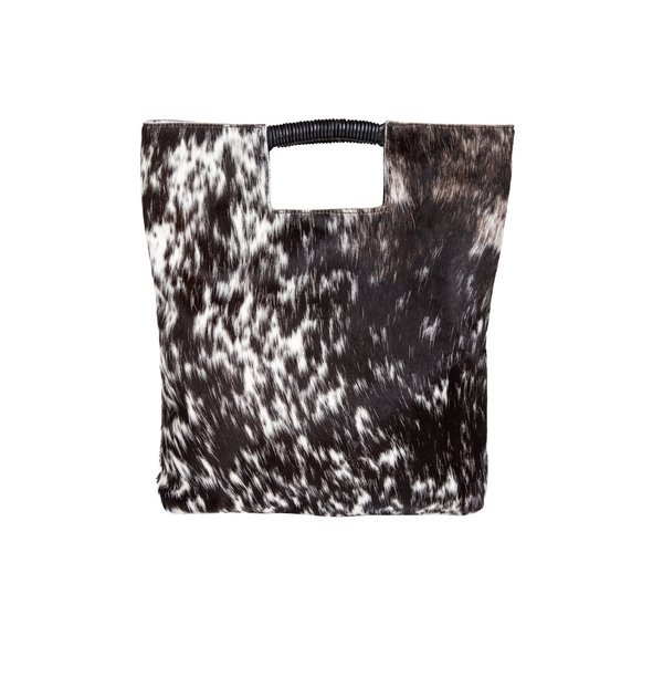 reid wrap handle tote in black and white natural haircalf leather