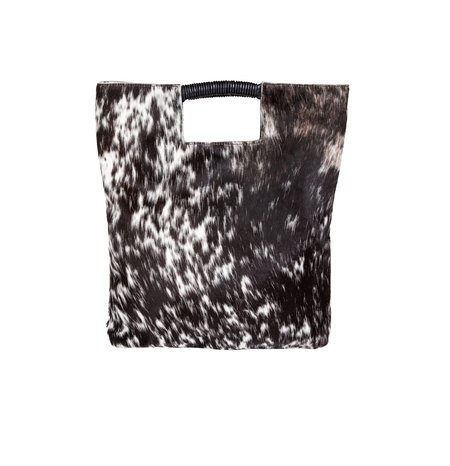 Oliveve Reid Wrap Handle Tote in Black and White Natural Haircalf Leather