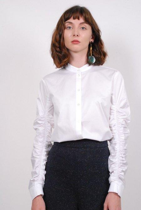 Tibi Satin Poplin Shirred Sleeve Shirt - White