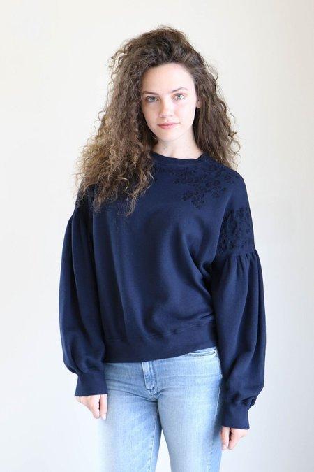 Ulla Johnson Judith Embroidered Sweatshirt in Indigo