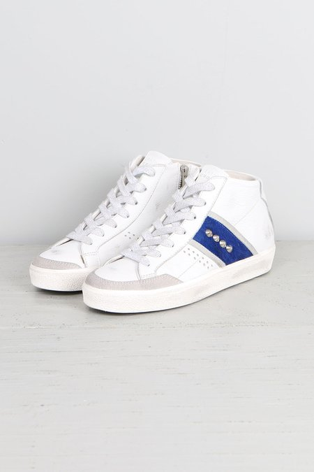 Leather Crown Donna Classic Hightop W/ Blue Pony
