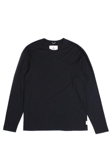 Reigning Champ Knit Cotton Jersey LS Crewneck in Black