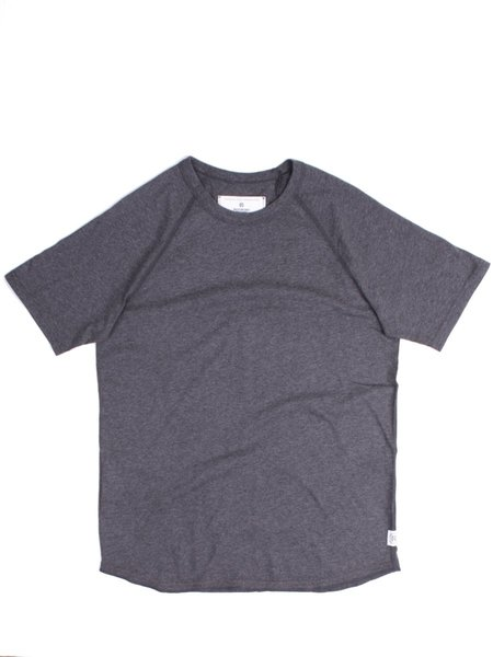 Reigning Champ SS Raglan Tee in Heather Charcoal