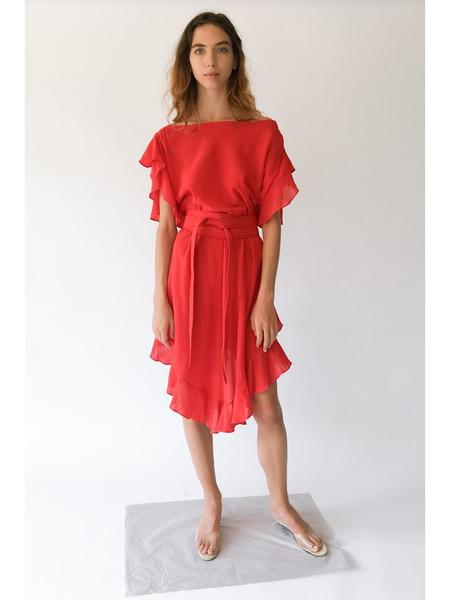 Electric Feathers Infinite Convertible Ruffled Kaftan - Bright Red