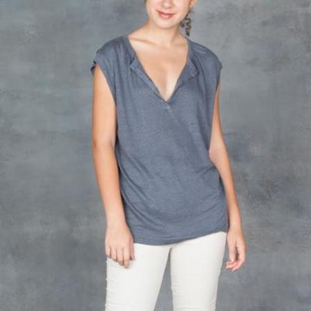 Humanoid Lance V-Neck Short Sleeve Linen Top Iron