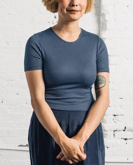 Mara Hoffman T-Shirt, Black/Blue Stripe