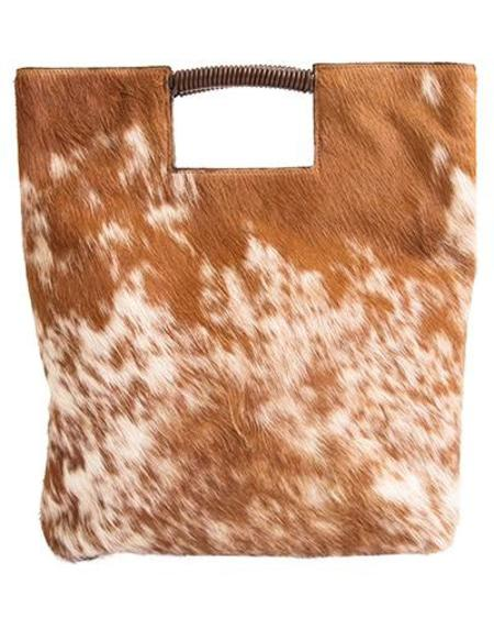 Oliveve reid wrap handle tote - brown/white natural haircalf leather