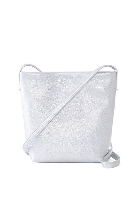 BAGGU Cross Body Purse, Silver Leather