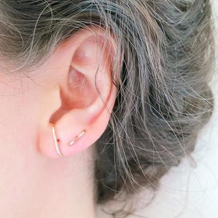 Kathleen Whitaker Medium Stitch 14k Gold Earrings