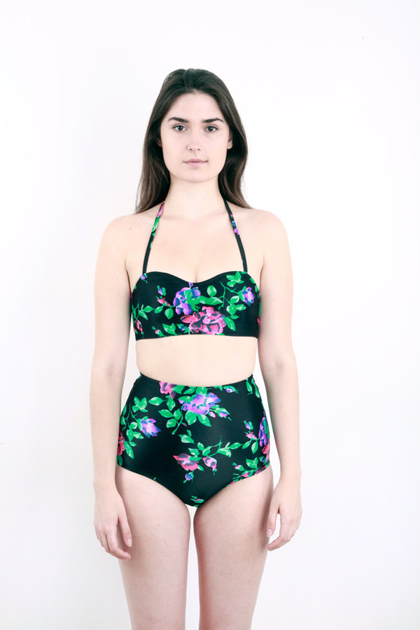 Minnow Bathers Black Floral Two Piece
