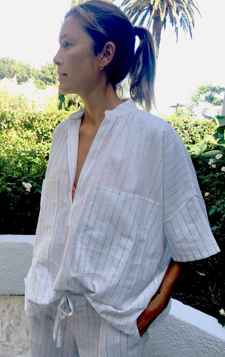 Two Grey Khadi stripe Two Pocket Shirt