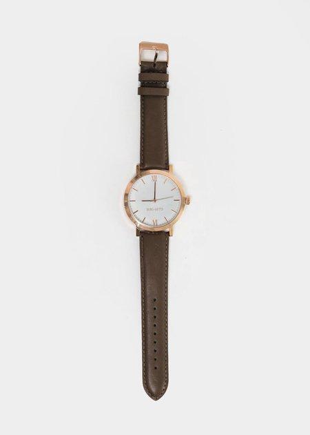 Berg + Betts Rose Gold and Dark Taupe Round Watch