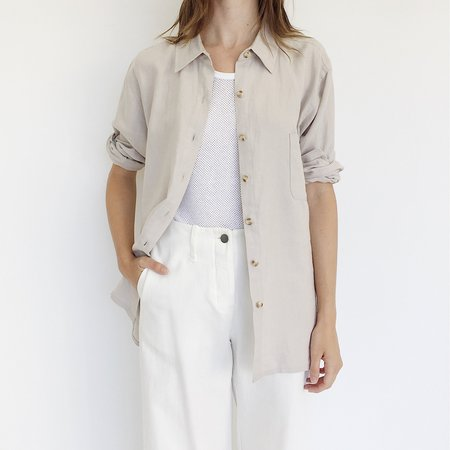 Johan Vintage Beige Linen Button Down
