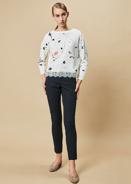 Yoshi Kondo Ivory and Drip Lace-Hem Sweater in White