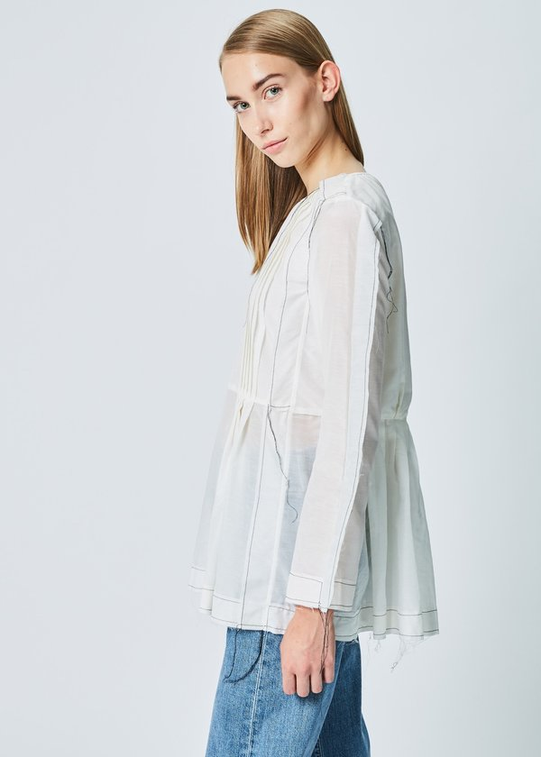 Sara Lanzi Winglet Pleat Top in Natural