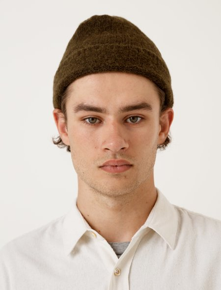 Our Legacy Knitted Hat Dark Olive Needled
