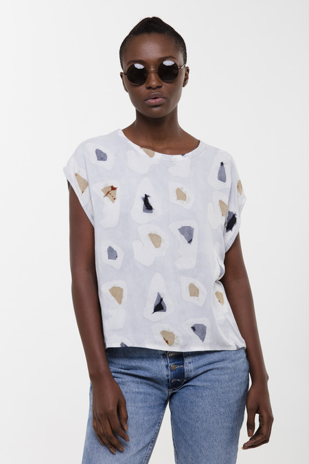 Osei-Duro Oversized Maena Top in Grey Platelets
