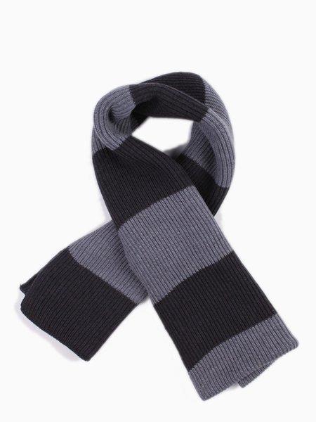 Knit Long Scarf Charcoal Stripe
