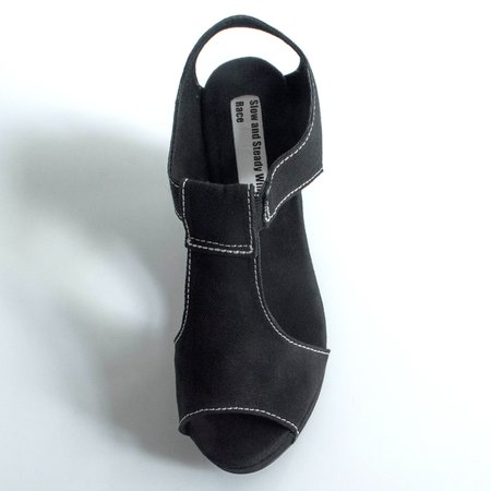 Slow and Steady Wins the Race Wedge Sandal - Black/White Stitching