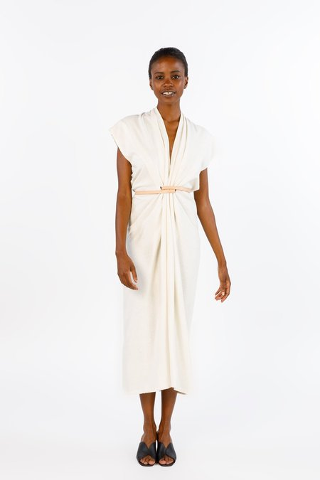 Miranda Bennett Knot Dress in Natural Silk Noil