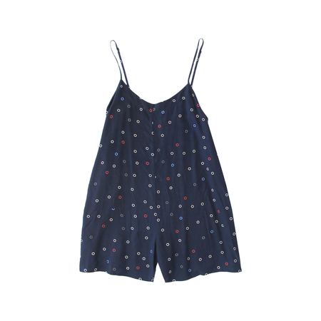 Ali Golden Rayon Romper in Navy Dot